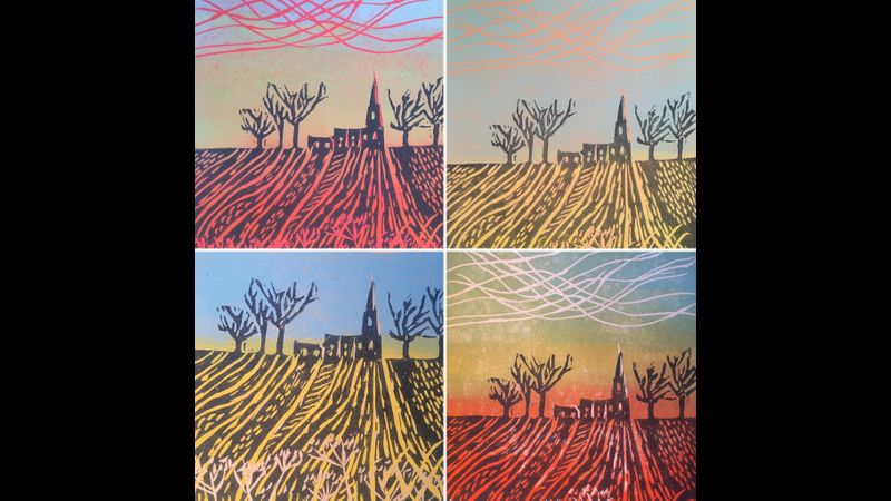 Two layered lino reduction in response to a local Cambridgeshire landscape.
