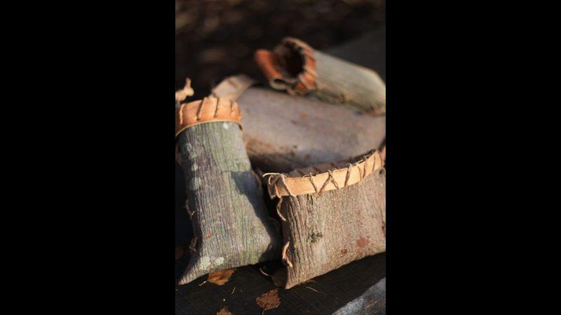 folded bark pouch