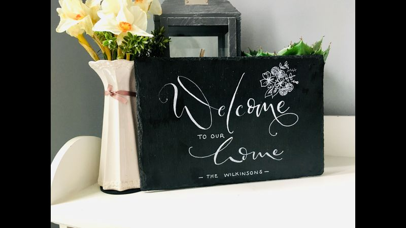 Create your own slate sign using faux calligraphy techniques