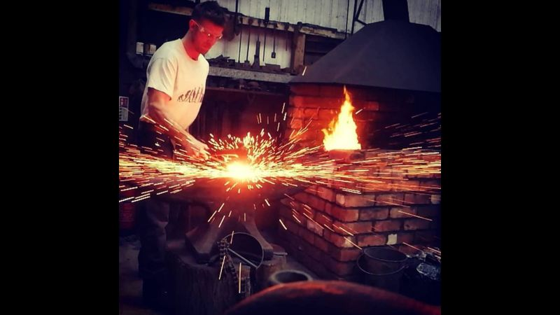 The classic blacksmith shot! Fire welding.