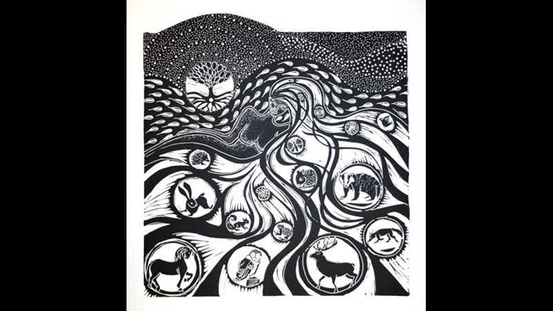 Earth Mother linocut by A Rolston