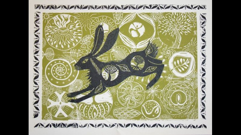 Spring Hare linocut by A Rolston