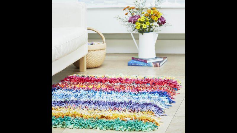 Rainbow Shaggy Rag Rug