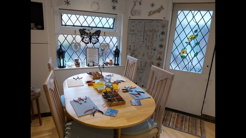 Pre-covid Photos of the Jewellery Workshop which takes place in the Summerhouse in the Garden. Plenty of Space, Tools & Beads provided