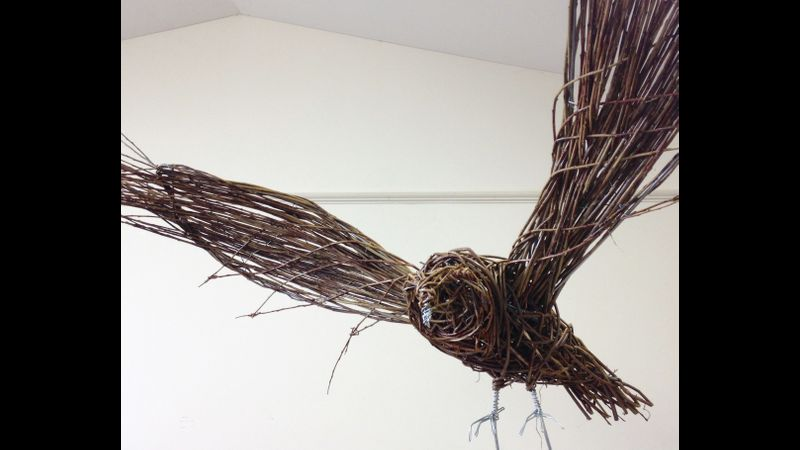 Willow Owl made at Willow Bird Sculpture Day Coates English Willow Somerset