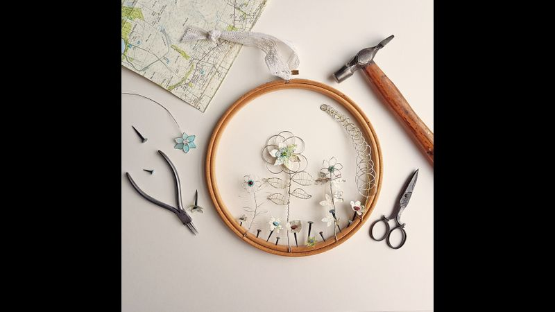 Wire and paper wall hanging workshop with Judith Brown in Staffordshire
