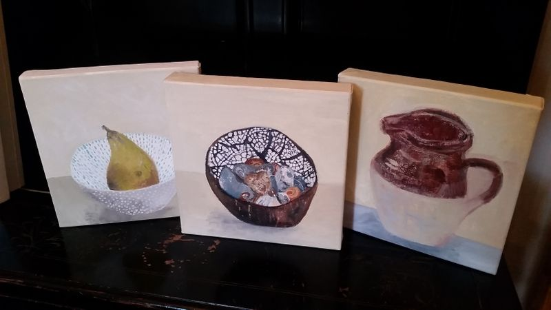 Canvases with finished work