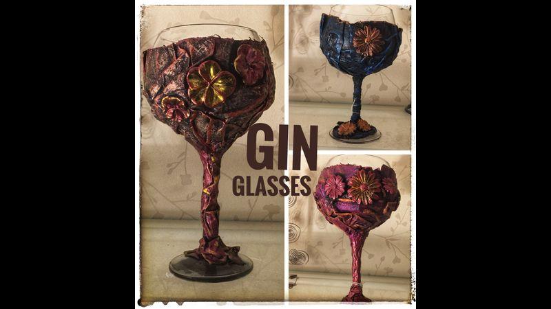 Decorated Gin Glasses using Powertex sculpting medium workshop with White Sunflower Creations in Bir