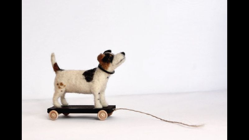 """Needle Felted 1950's inspired Toy Dog """"Pete."""""""