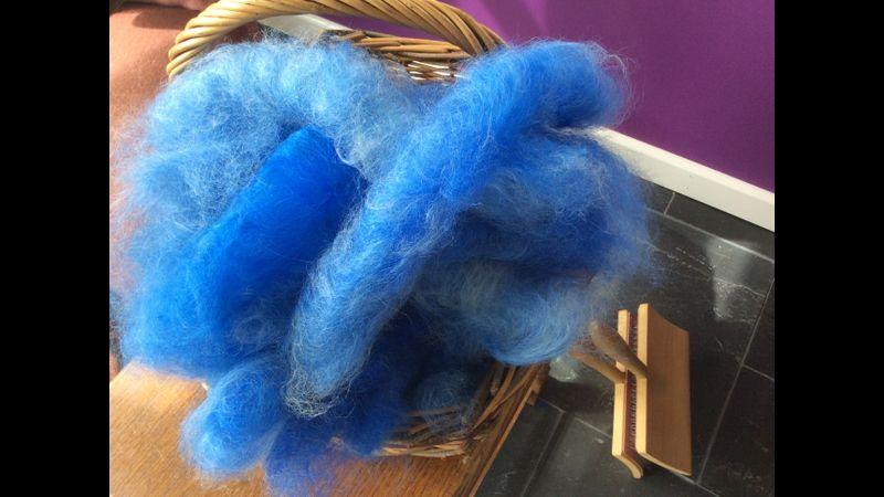 Carded hand-dyed alpaca fleece