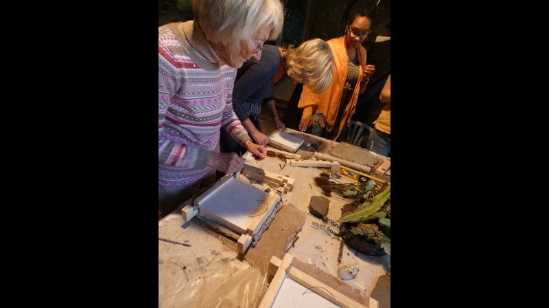 Working in plaster and clay using botanical elements