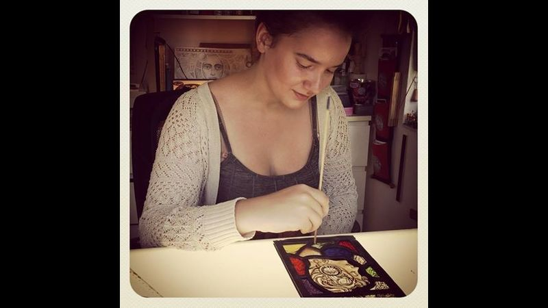 Stained glass painting workshop