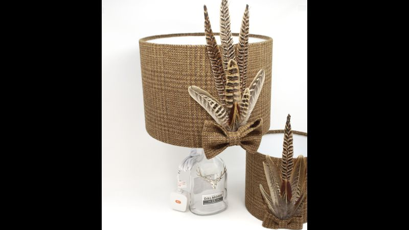 Harris Tweed Lampshade with Pheasant Feathers