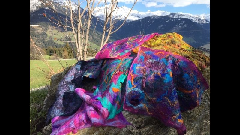 Students' felt art on Felting holiday in French Alps