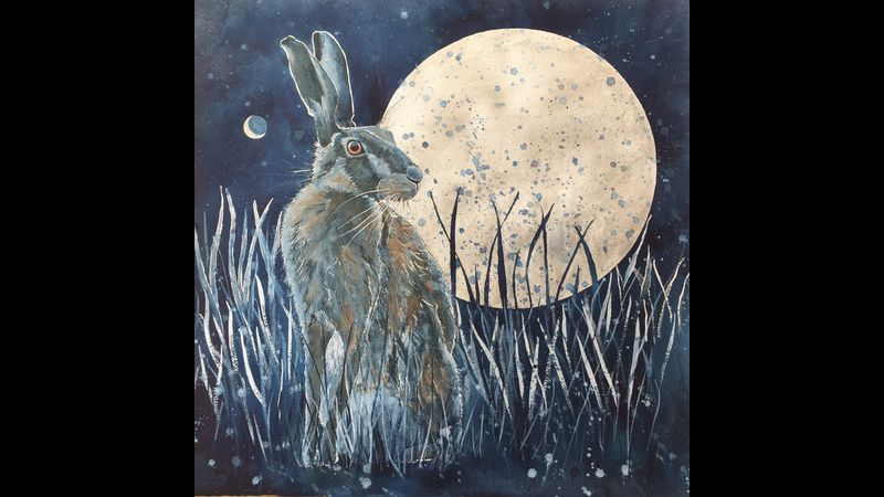 The Hare, the Moon and Venus. Mixed Media.