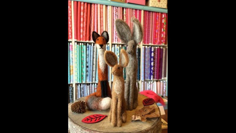 Country hares & foxes needle felting
