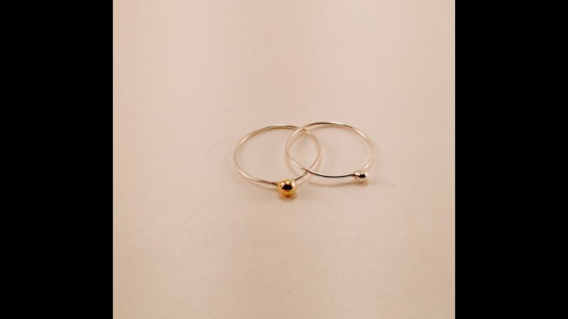 Argentium delicate 1mm ring with .2grams of 18ct gold attached.