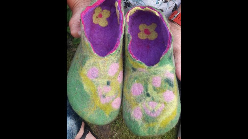 Make your own Felt Slippers with Marieke Tomlin, a Quirky Workshops at Greystoke, Cumbria