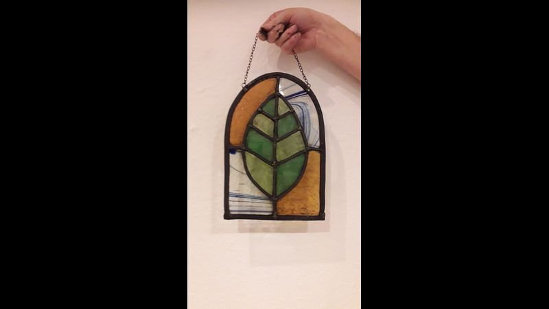 Leaf stained glass panel