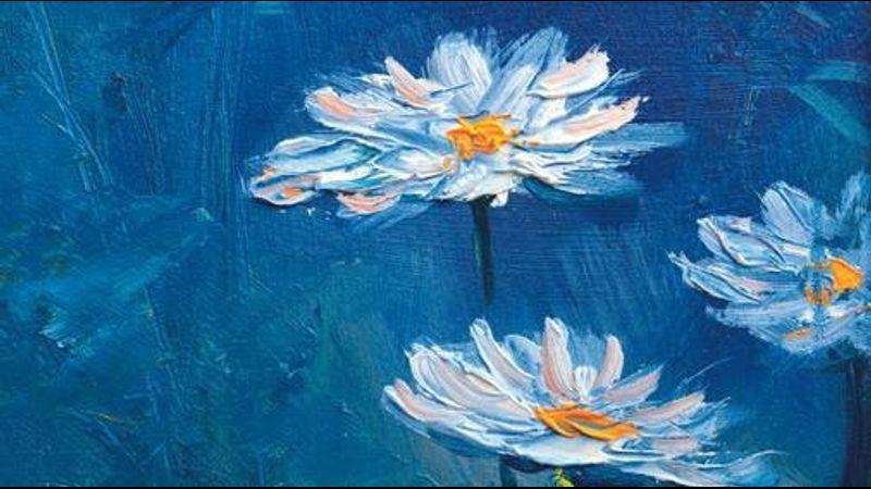 Vibrant florals in mixed media in Exmoor