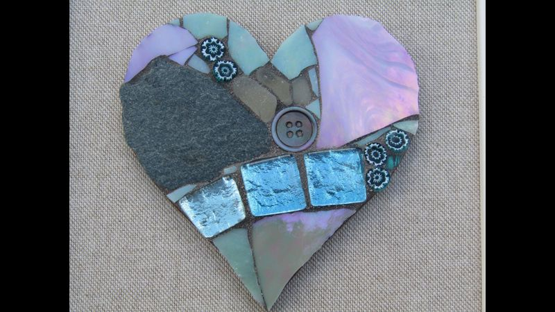 Mosaics : Silver Hearts & Framed Hearts at Greystoke Craft Garden, nr. Ullswater and the Lake District