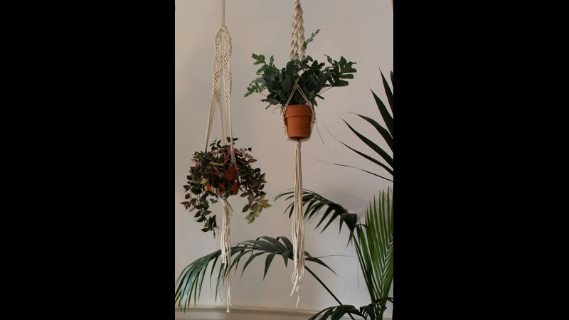 Macramé plant hangers completed on macramé workshop at The Arienas Collective in Edinburgh.