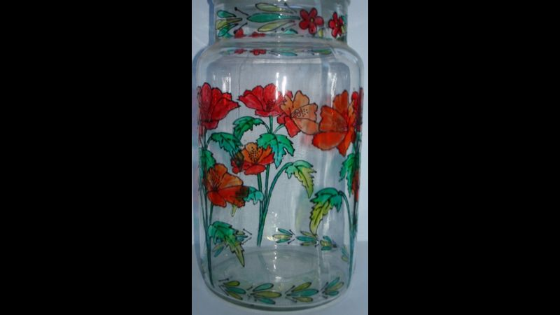 Glass painted jar