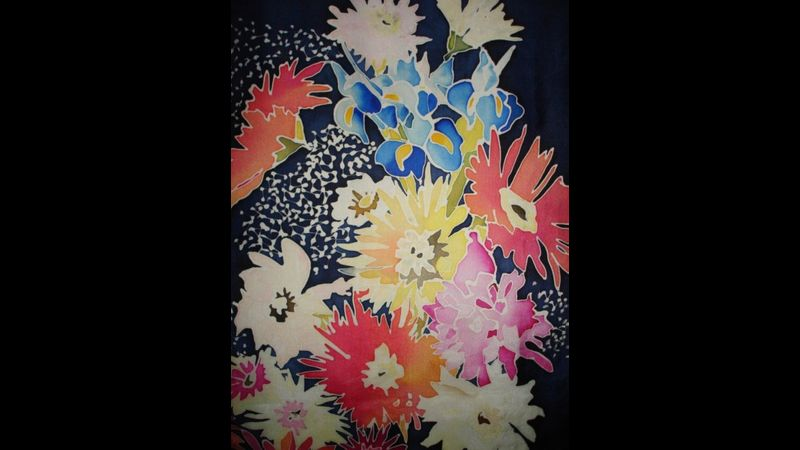 Silk  Painting floral picture