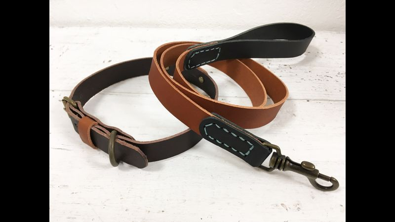 Veg tan dog collar and lead with hand stitched detail