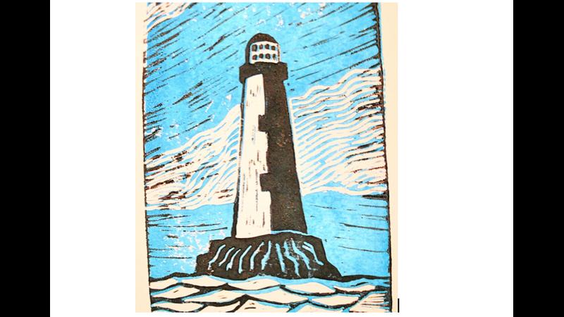 lighthouse lino print
