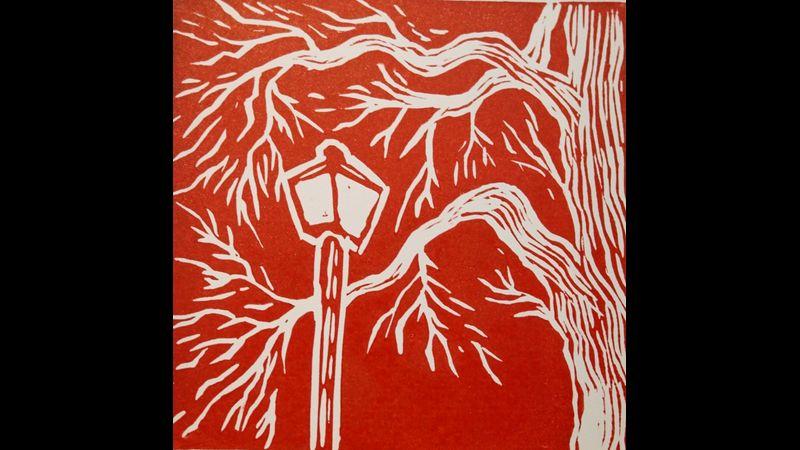 tree by night lino print
