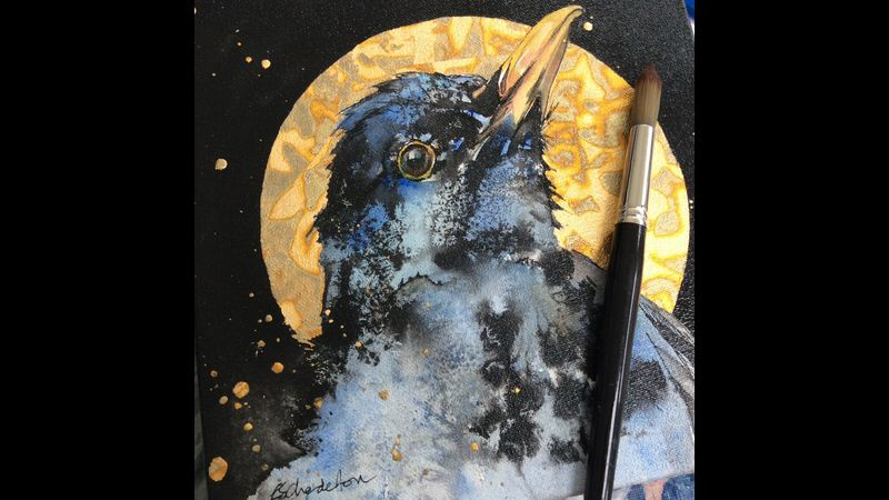Gold leaf, used over watercolour and ink