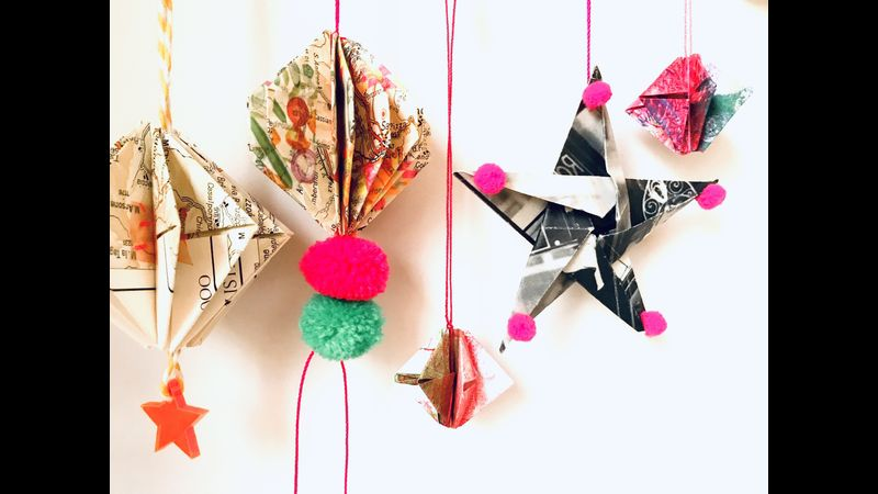 Folded stars and baubles from repurposed maps and books