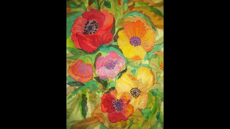 Poppies - free machining with dyes and applique