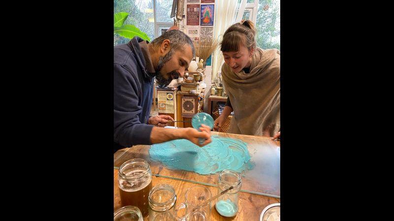 Making malachite watercolour paint at SAOG Studios