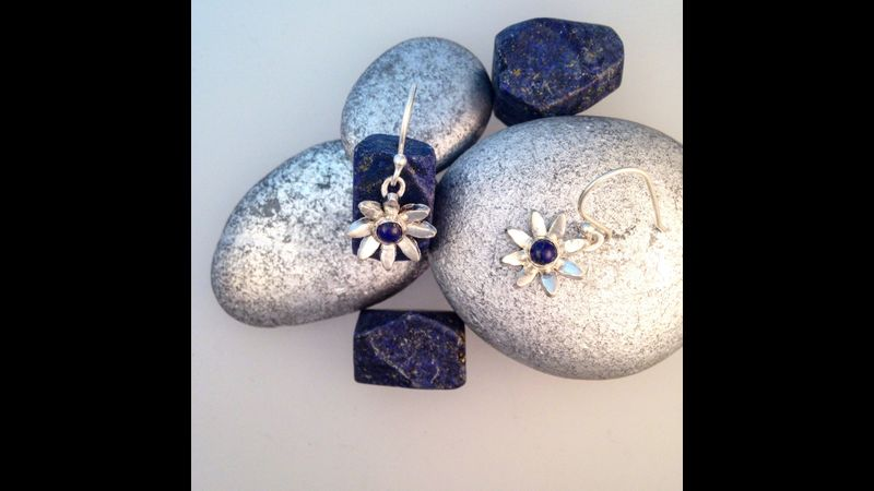 Silver clay daisy flower with lapis centre