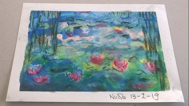 Nicola's stunning waterlilies - one of three she did in that lesson.