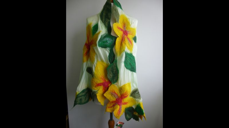 Nuno felted scarf made by Barbara Melling, tutor of the Nuno Felted Scarf workshop in Lincolnshire