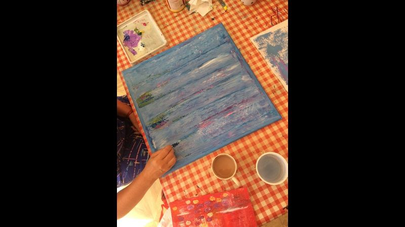 Abstract acrylic workshop in my studio in Gainsborough