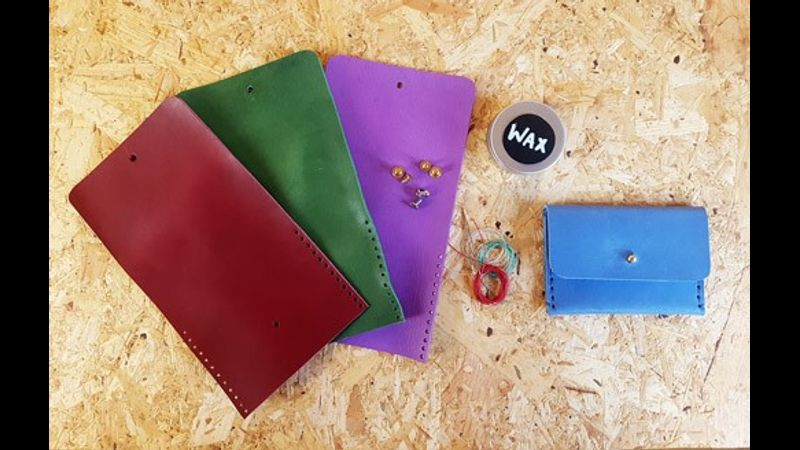 Do-it-yourself-bag-kit-Make-a-Purse-at-home-leather-course-Handmade-flapped-sam-browne-multi-colour