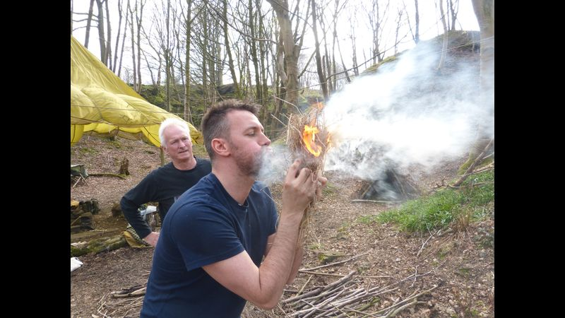 Successful friction fire lighting on our Peak District Course Bushcraft Course