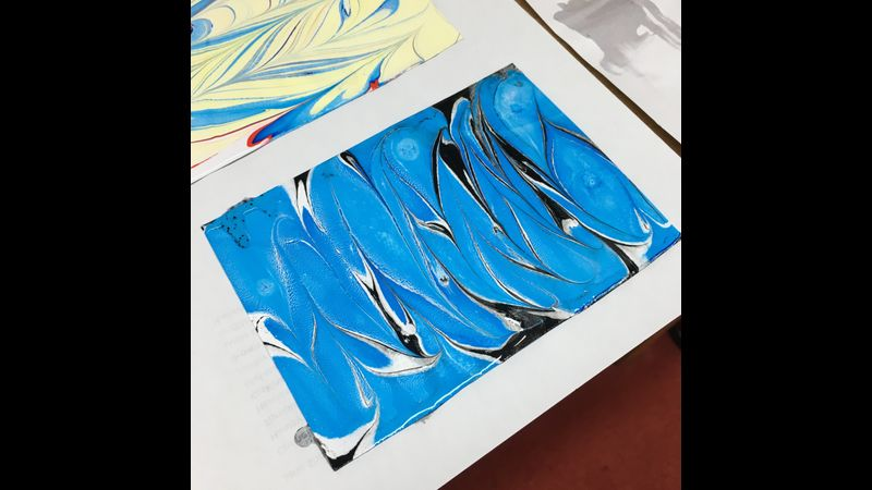 Examples of what students have done in the marbling workshop