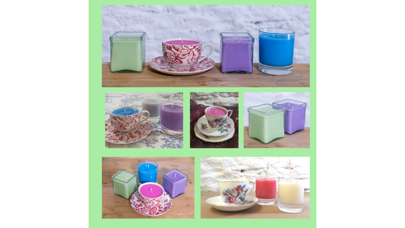 Containers with candles made in a craft workshop in Dorset Somerset
