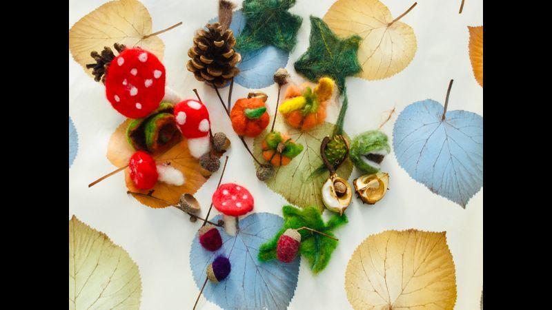Autumn need felted mushrooms and  acorns