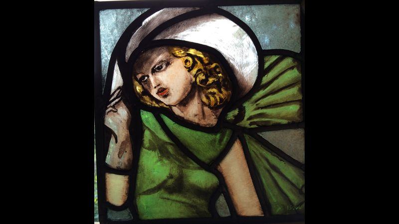 Student's stained glass work inspired by Tamara de Lempicka