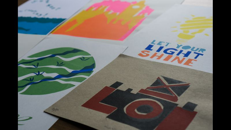 Screen printing using paper stencils at The Arienas Collective in Edinburgh