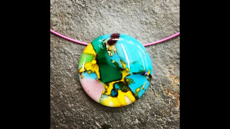 Neama's fused glass pendant inspired by a favourite head scarf : Rainbow Glass Studios, London N16 0JL