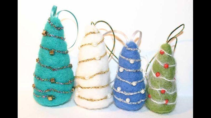 Needle felted tree decorations