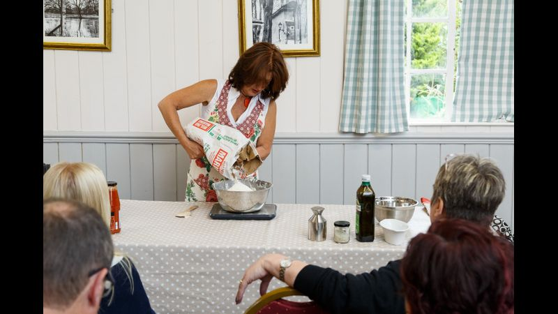 Sharon demonstrating at another one of her popular 'Learn Sourdough' events