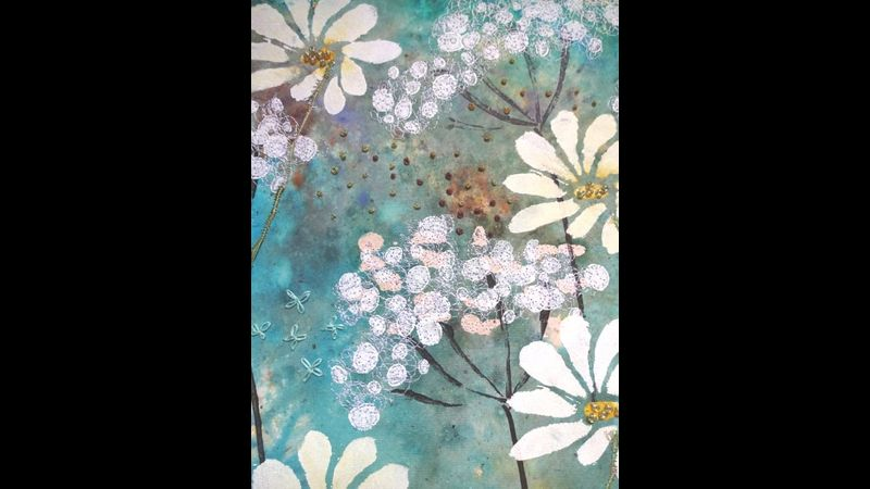 Paint Print and Stitch with Kay Leech,   a Quirky Workshop at Greystoke Craft Garden, Lake District, Cumbria